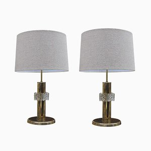 Lampes Vintage en Laiton avec Anneaux en Verre, 1970s, Set de 2