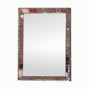 Mirror avec Cadre Rose Gravé, France 1960s