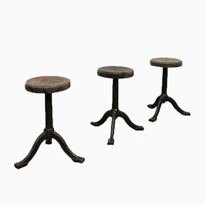 Vintage Industrial Cast Iron Stools, Set of 3