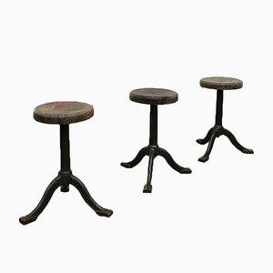 Vintage Industrial Cast Iron Stools, Set of 3