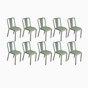 Chaises Modèle T4 Vintage Turquoise par Tolix, Set de 10