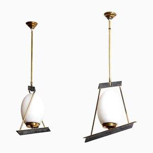 Lampade a sospensione in ottone e vetro opalino, Italia, set di 2
