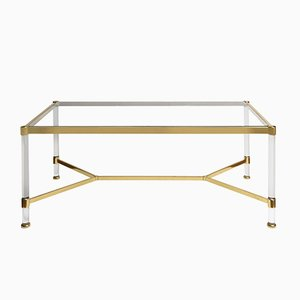 Mid-Century Modern Plexiglas & Brass Coffee Table