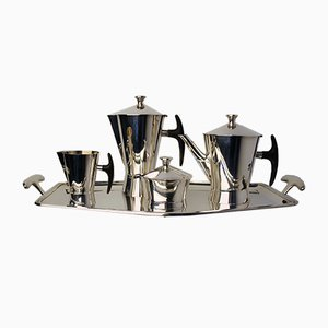 Avant-Garde Silver Plated Coffee Tea Set from Delheid Frères, 1950s