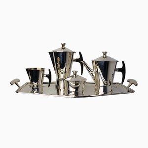 Set da tè e caffè avanguardista placcato in argento di Delheid Frères, anni '50