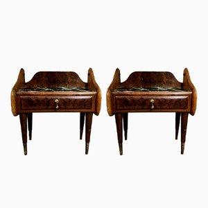 Tables de Chevet en Contreplaqué d'Acajou, Italie, 1950s, Set de 2