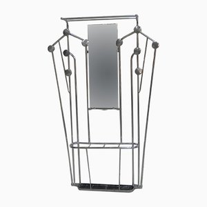 Art Deco Aluminum Coat Rack with Umbrella Stand & Mirror