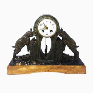 Reloj de mesa vintage de bronce y mármol, años 30