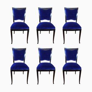 Blaue französische vintage Stühle, 1930er, 6er Set