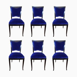 Vintage French Blue Chairs, 1930s, Set of 6
