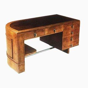 Escritorio italiano vintage de nogal y madera nudosa, años 30