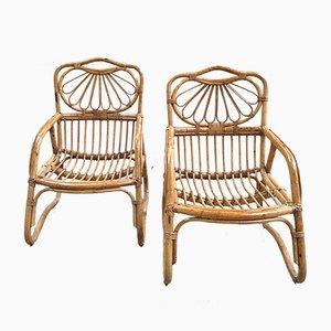Italian Bamboo Armchairs, 1960s, Set of 2