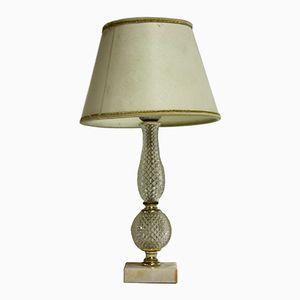 Italienische Tischlampe aus Marmor & Kristall, 1960er