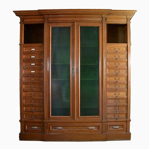 Vintage Italian Mobile Oak Filing Cabinet