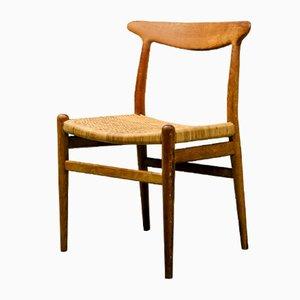 Modell W2 Beistellstuhl aus Eiche & Schilfrohr von Hans J. Wegner für C.M. Madsen, 1953
