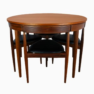 Mid-Century Roundette 630 Dining Table & 4 Chairs by Hans Olsen for Frem Røjle, 1950s