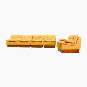 Mid-Century Deep Yellow Leather Modular Sofa Set from Dreipunkt, 1970s