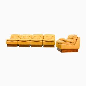 Modulares dunkelgelbes Mid-Century Leder Sofa Set von Dreipunkt, 1970er