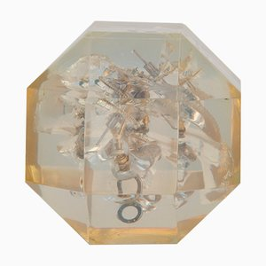 Vintage Polyhedron Resin Sculpture by Pierre Giraudon, 1970s