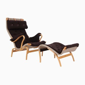 Pernilla Easy Chair & Ottoman Set by Bruno Mathsson for Dux, 1980s