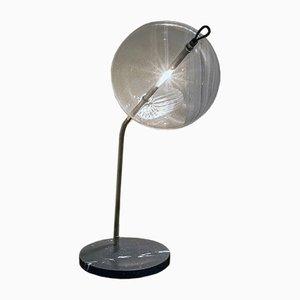Lampada da tavolo T-Double Special in ottone ossidato argentato con base in marmo di Silvio Mondino