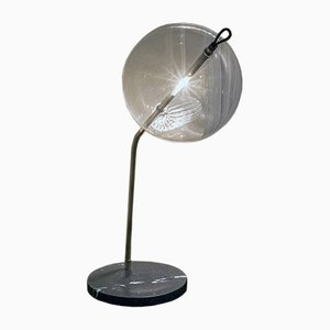 T-Double Special Marble Base Table Lamp in Silver Tarnished Brass by Silvio Mondino