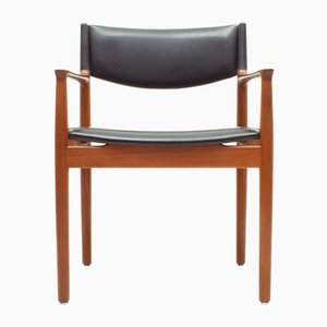 Danish Teak & Black Skai Armchair from Vamo Sønderborg, 1960s