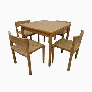 Dänische Esszimmer Set aus Eiche & Papierschnur Dining Set, 1960er