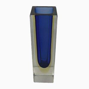 Vaso vintage in vetro di Murano sommerso blu e giallo di Alessandro Mandruzzato