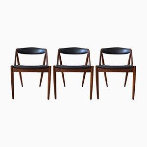 Chaises de Salon Mid-Century Modèle 31 en Teck par Kai Kristiansen pour Schou Andersen, Set de 3