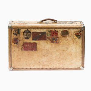 Antique Large Vellum Suitcase