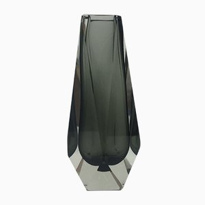 Vintage Faceted Sommerso Glass Vase by Alessandro Mandruzzato, 1970s