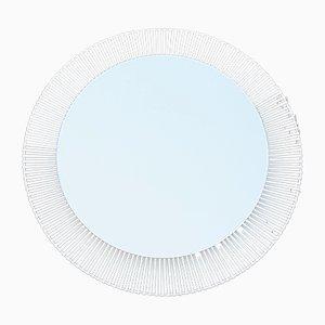 Specchio rotondo retroilluminato in acciaio bianco di Zierform, anni '70
