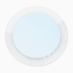 White Steel Backlit Circular Mirror from Zierform, 1970s