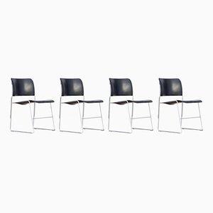 Chaises Empilables Modèle 40-4 en Métal par David Rowland pour Office Furniture Systems, 1977, Set de 4