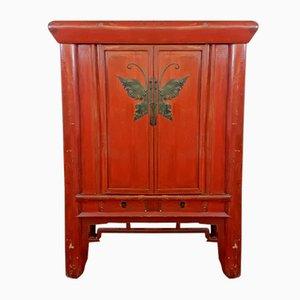 Antiker chinesischer rot lackierter Hochzeitsschrank