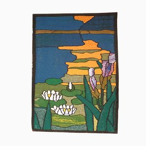 German Hand-Woven Reeds & Water Lilies Tapestry, 1960s