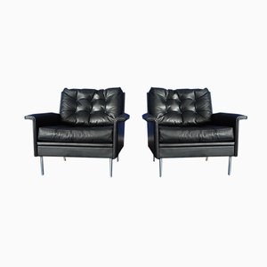 Mid-Century Leather Lounge Chairs from Behr, 1960s, Set of 2
