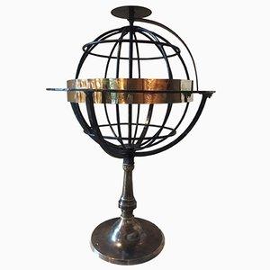 Gabbia sferica antica in ferro battuto ed ottone