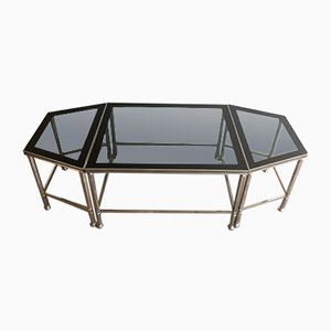 French Nickeled Tripartite Coffee Table with Glass Tops & Lacquer, 1940s