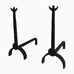French Wrought Iron Andirons, 1970s, Set of 2