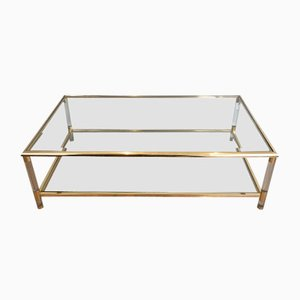 French Gilt Nickel and Lucite Coffee Table, 1970s
