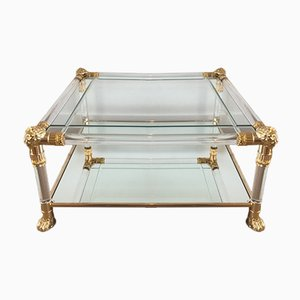 French Lucite Coffee Table with Gilt Lion Heads & Feet, 1970s