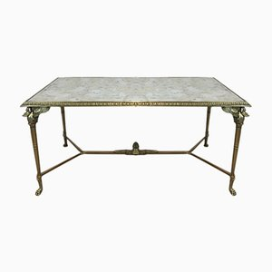 French Neoclassical Bronze and Brass Coffee Table with Swan Heads and Mirrored Top, 1940s