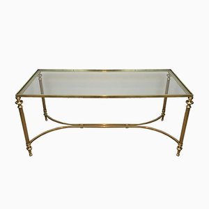 French Brass Coffee Table With Glass Top, 1940s