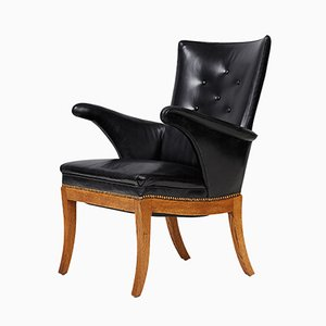 Oak, Leather and Pine Lounge Chair by Fritz Henningsen, 1932