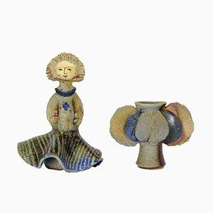 Escultura y jarrón de cerámica de Jean Linard, años 60