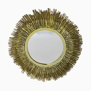 French Brass Sunburst Mirror, 1960s