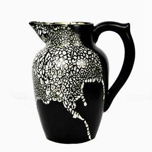 Keramik Vase in Schwarz & Weiß von Leon Pointu, 1930er