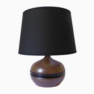 Lámpara vintage de cuero y cerámica de Gabriel Hamm, años 80